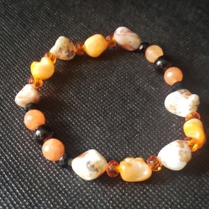 Handmade Orange beige & Black stone bracelet